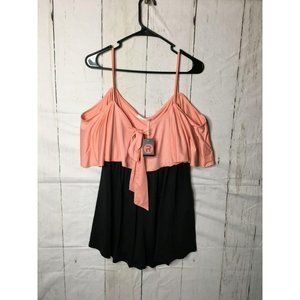 Rose Gal Womens Top Strappy Sleeved Top L 14 NWT